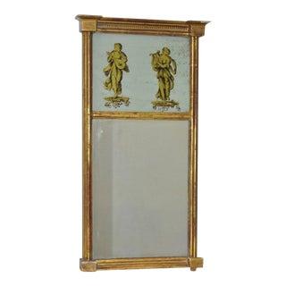 19th C. Verre Églomisé Trumeau Mirror