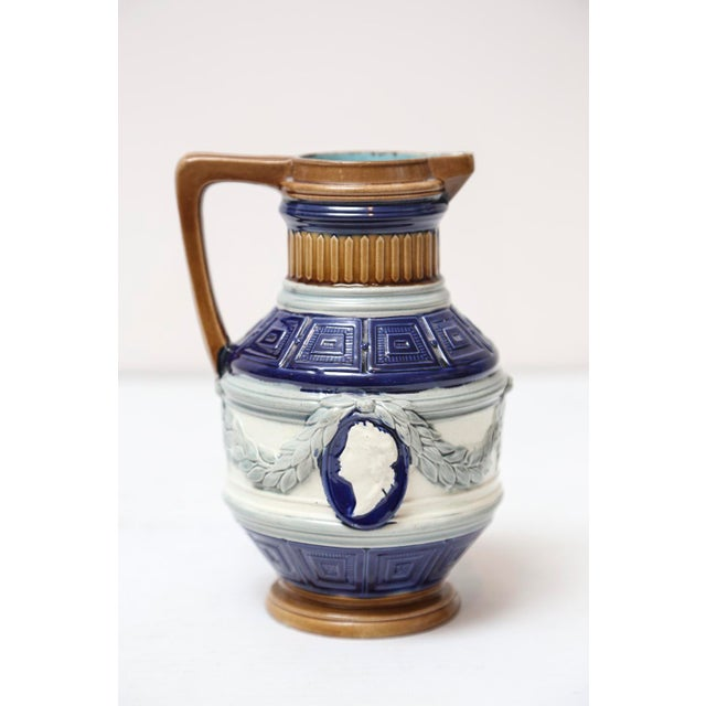 English Cobalt Majolica Pitcher with Cameo For Sale - Image 5 of 7