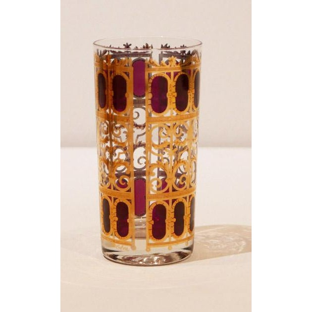 """Mid-Century Modern Culver 22k Gold """"Cranberry Scroll"""" Cocktail Glasses For Sale - Image 3 of 6"""
