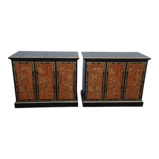 Pair Vintage Oriental Asian French Country Side Table Sideboard Bar by Drexel For Sale