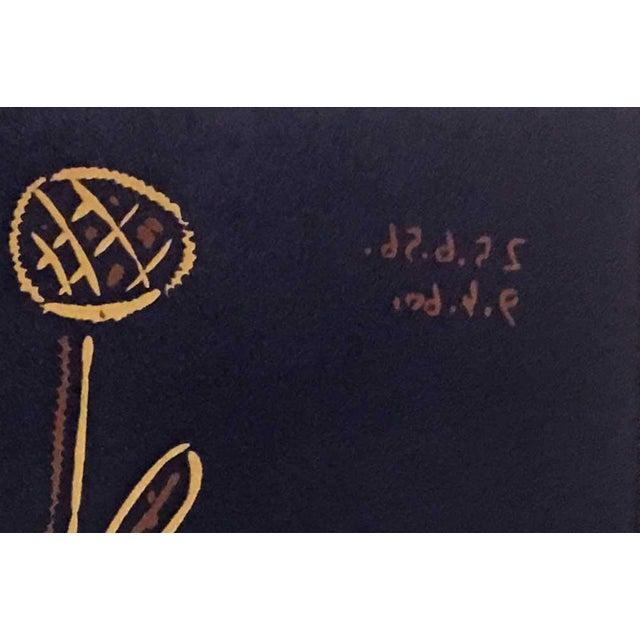 "Abstract 1960s Vintage Pablo Picasso ""Plante Aux Toritos"" Linocut Print For Sale - Image 3 of 4"