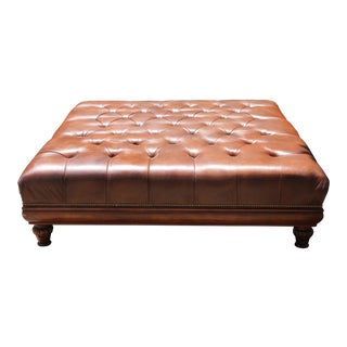 Hancock & Moore Leather Tufted Ottoman