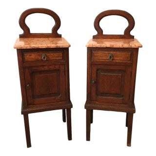 Antique French Side Tables & Mirror Backs and Marble Tops- A Pair For Sale