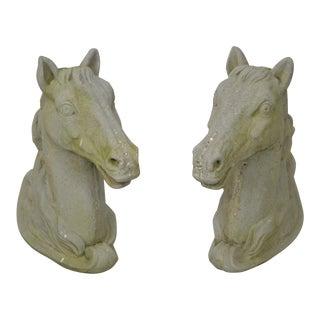 Cast Stone Concrete Pair of Horse Head Garden Statues