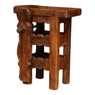 19th Century French Carpenter Press Table With Wine Bottle Storage Rack For Sale