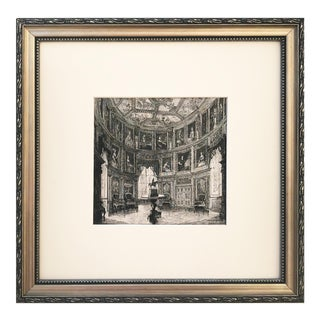 19th Century French Chateau Bussy-Rabutin Interior Etching For Sale