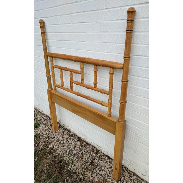 Asian Faux Bamboo Chippendale Wooden Poster Twin Headboard For Sale - Image 3 of 9