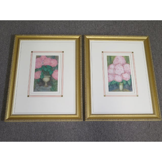 1990s Traditional Gold Framed Signed Floral Prints - a Pair For Sale - Image 5 of 5