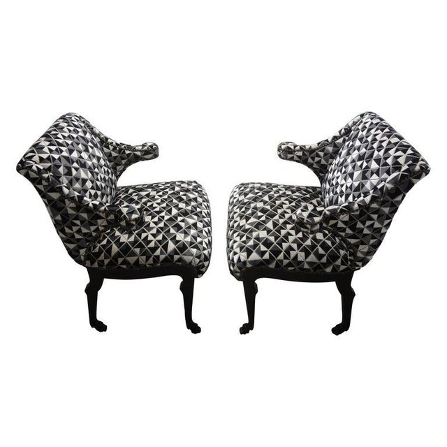 James Mont Inspired Ebonized Chairs With Hoof Feet-A Pair For Sale - Image 13 of 13