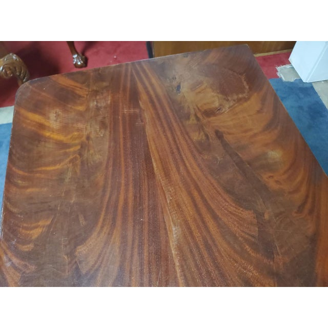 Wood Antique Empire Style Flip Top Mahogany Game Table For Sale - Image 7 of 11