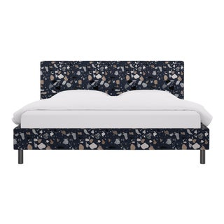 King Tailored Platform Bed in Deep Blue Sperduti For Sale