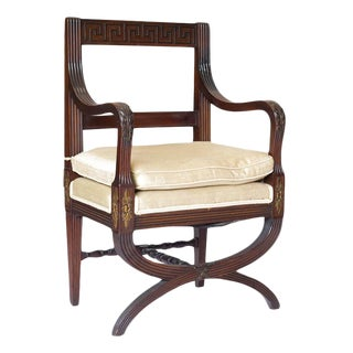 Early 20th Century English Mahogany Hall Chair For Sale