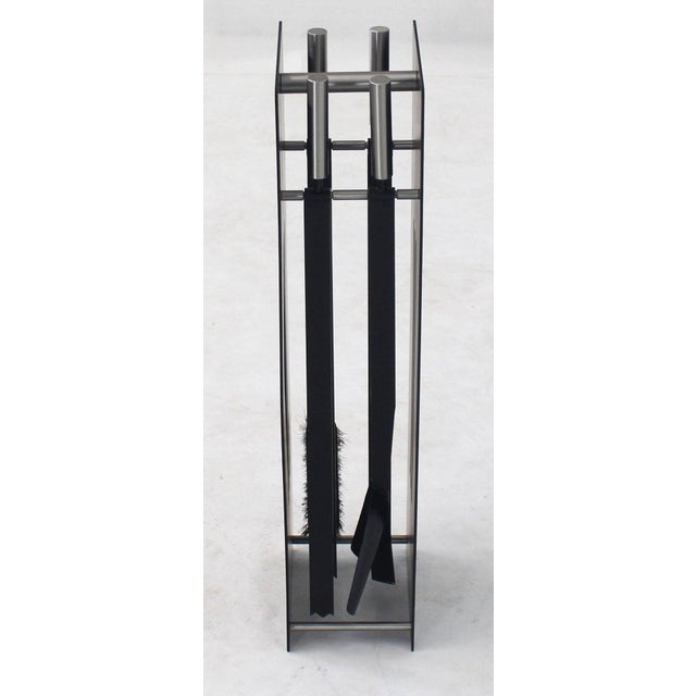 Modern Black and Chrome Fireplace Tools For Sale - Image 9 of 10