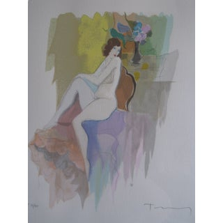 "Itzchak Tarkay ""Catherine"" Watercolor Painting Serigraph For Sale"