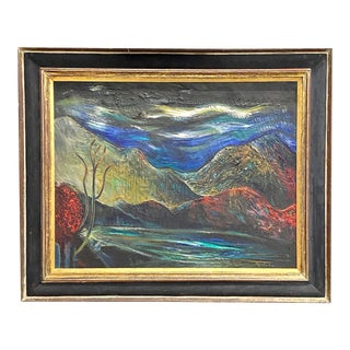 Large Vintage Oil on Canvas Signed Charles Melohs Nighttime Scene Painting Framed For Sale