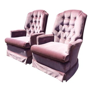 1970s Vintage Lilac Velvet Tufted Swivel Arm Chairs- A Pair For Sale