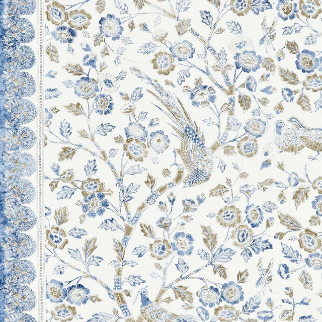Scalamandre Anissa Print Fabric in Lakeside Sample For Sale