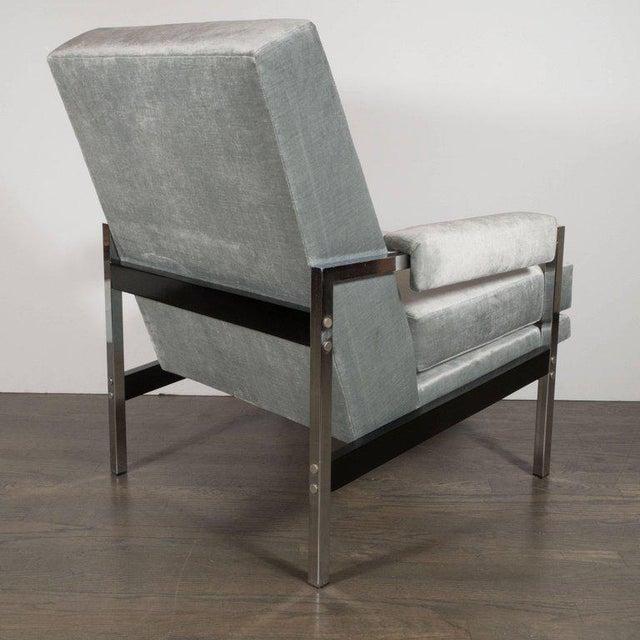 Mid-Century Modern Mid-Century Modern Ebonized Walnut and Chrome Armchairs For Sale - Image 3 of 10