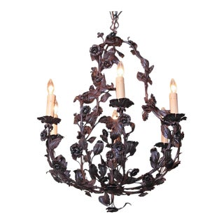 Early 20th Century French Six-Light Metal & Tole Floral Chandelier
