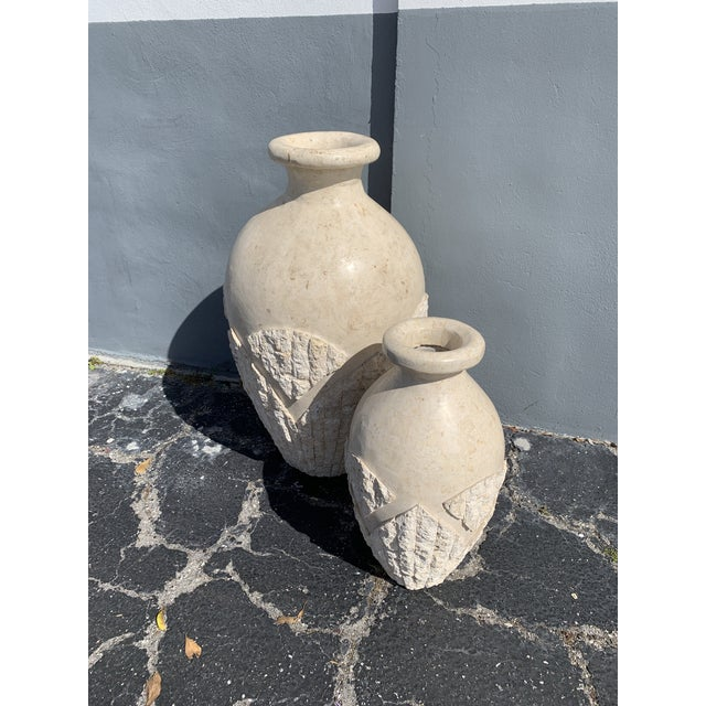 Tessellated Mactan Stone Floor Vases - A Pair For Sale - Image 10 of 12