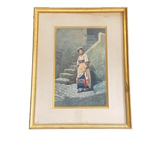 "19Th Italian Water Color Aquarelle Painting of a Peasant Framed 26.25"" H by 20.75"" W For Sale"