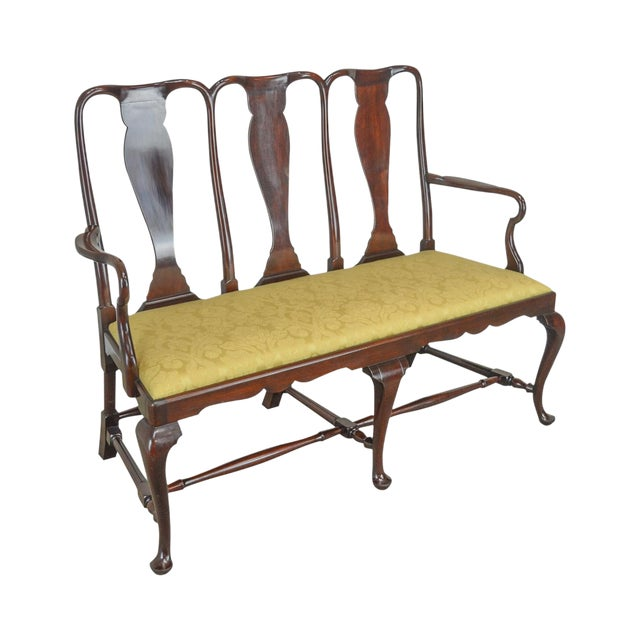 Queen Anne Custom Mahogany Triple Back Settee For Sale