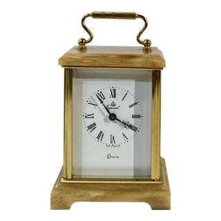 Imperial Clock Brass and Stone Desk Clock For Sale