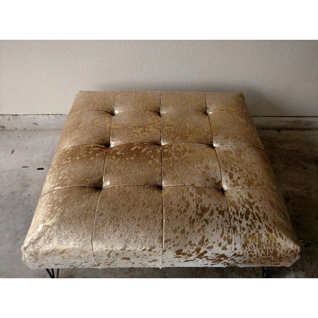 Gambrell Renard Metallic Gold Cowhide Ottoman For Sale - Image 5 of 5