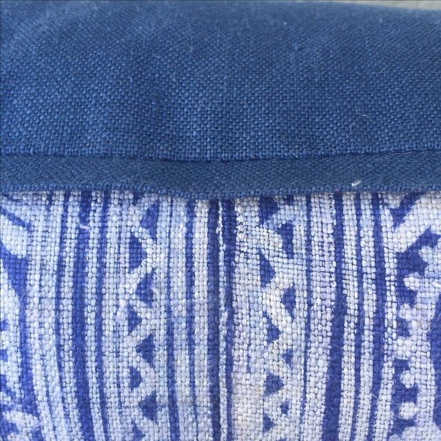 Indigo Blue & White Batik Cotton Pillow - Image 4 of 5