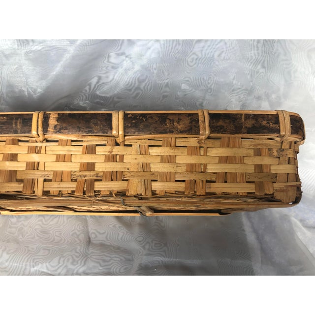 Late 20th Century Late 20th Century Large Woven Bamboo Tray Basket For Sale - Image 5 of 13