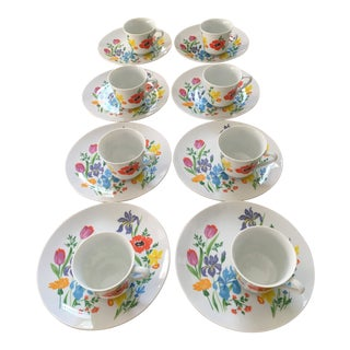 1970s Vintage Taste Seller by Sigma Porcelain Spring Flowers Primavera Snack Plates & Cups - 16 Pieces