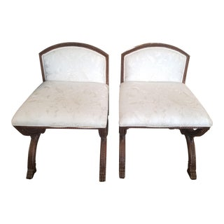 Set of 2 Campaign Style Slipper Chairs For Sale