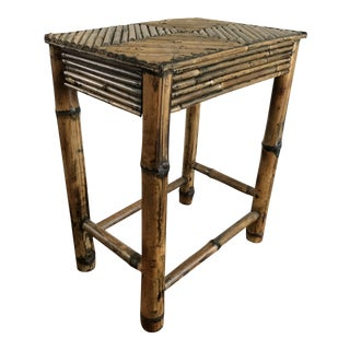 Vintage Pencil Bamboo Boho Accent Table