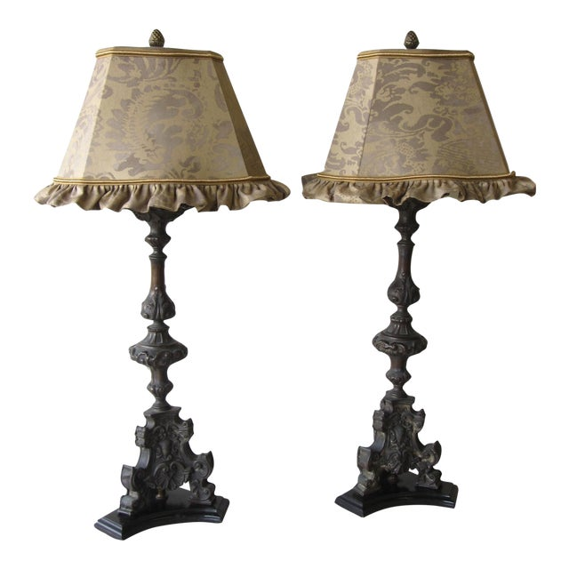 Antique Cast Metal Lamps With Fortuny Shades - A Pair - Image 1 of 11