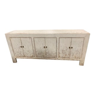 Distressed White Gansu Cabinet For Sale