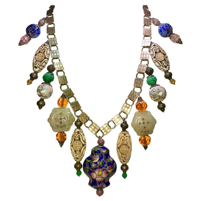 Metal Vintage Chinese Bead and Book Chain Necklace For Sale - Image 7 of 7