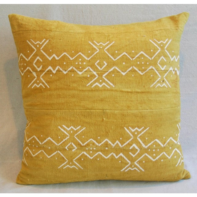 Handwoven Gold & Cream Tribal Feather & Down Pillow - Image 4 of 6