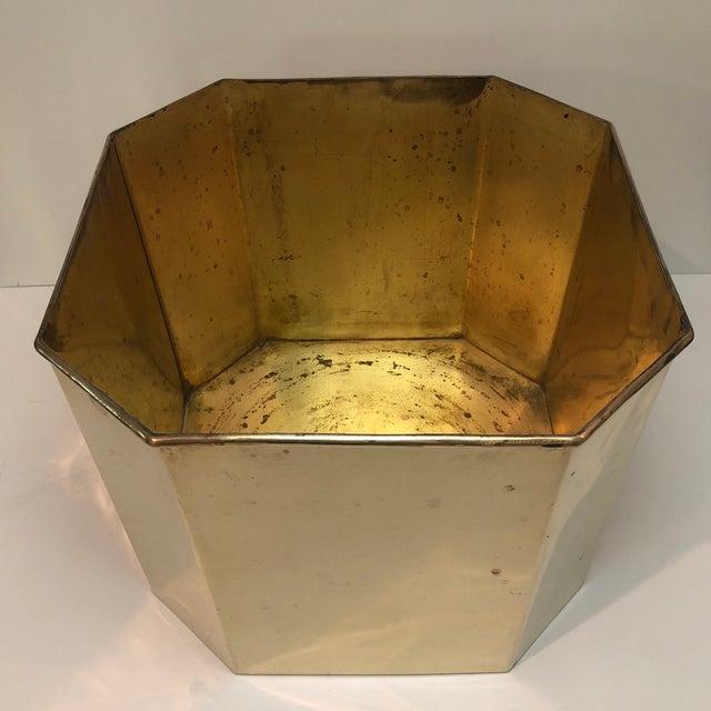 Jumbo Vintage Octagonal Brass Floor Planter For Sale In Houston - Image 6 of 8