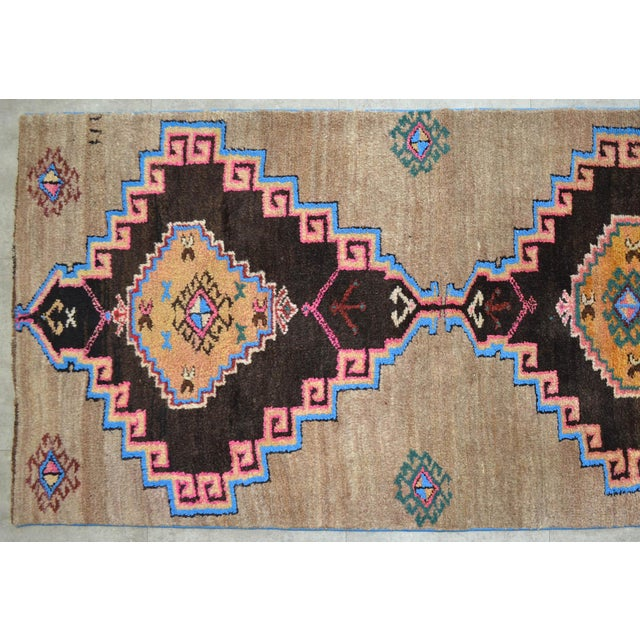 Hand Knotted Natural Colors Full Tribal Design Runner Rug Wide Runner - 3′6″ X 11′4″ For Sale In Raleigh - Image 6 of 11