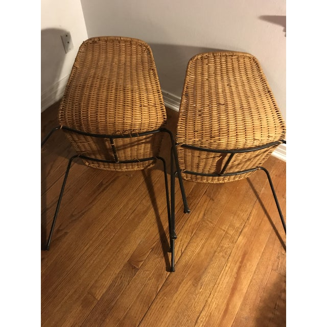 1960s Vintage Campo Graffi Wicker Armless Chairs - A Pair - Image 4 of 8
