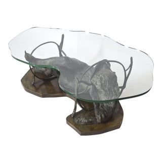 Unique Philip and Kelvin LaVerne Bronze and Glass Low Table For Sale