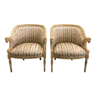 Regency Style Rams Head Bergere Chairs - a Pair For Sale