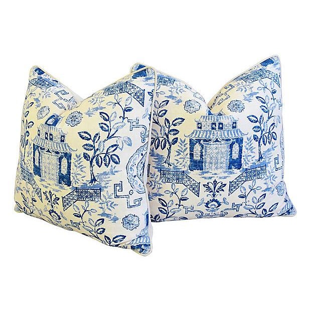 "Cotton Custom Blue & White Chinoiserie Feather/Down Pillows 26"" Square - Pair For Sale - Image 7 of 13"