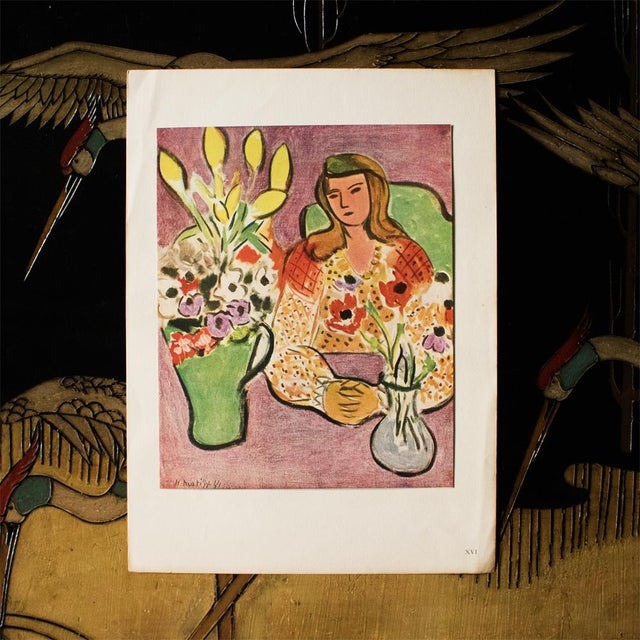 """French 1946 H. Matisse """"Girl With Anemones on Purple Background"""", Original Parisian Lithograph For Sale - Image 3 of 8"""