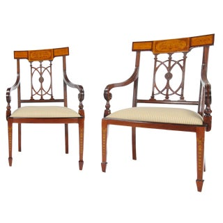 Inlaid Hepplewhite Arm Chair - a Pair For Sale