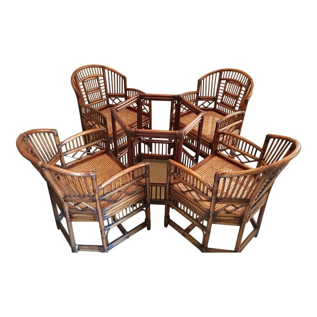 1970s Hollywood Regency Brighton Pavilion Style Bamboo Dining Set - 5 Pieces For Sale