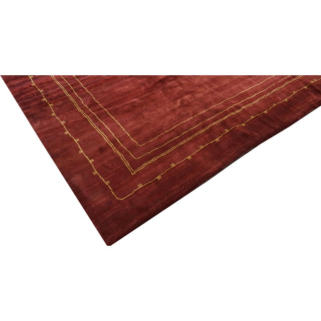 Modern Boccara Exclusive Monochrome Wool Rug, Bordeaux For Sale - Image 3 of 6