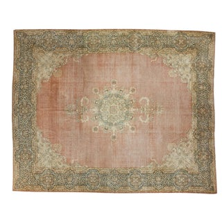 "Traditional Distressed Kerman Carpet - 12'9"" X 16'1"" For Sale"