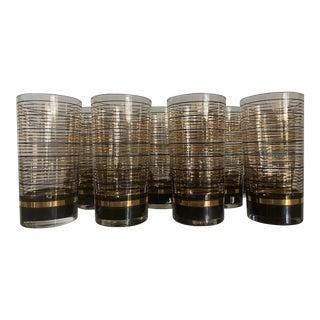 Vintage Culver Striped High Ball Glasses - Set of 12 For Sale