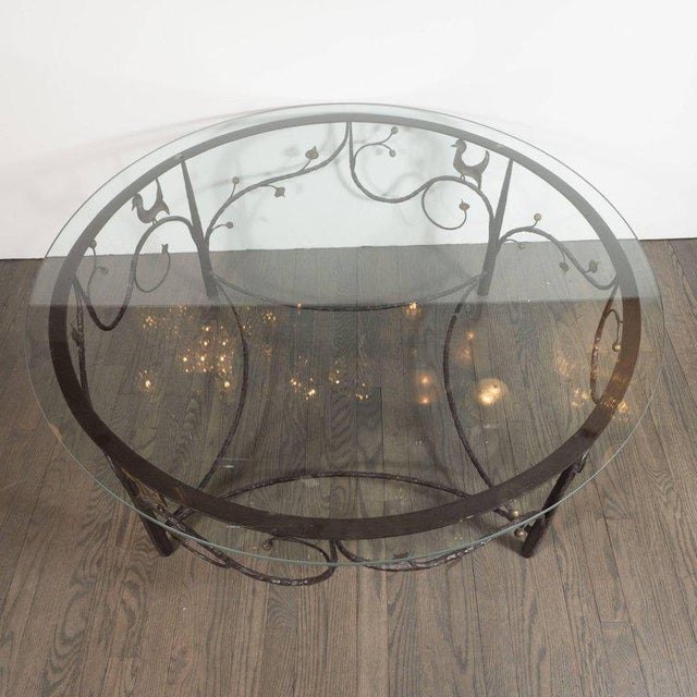 Midcentury Scrolling Bronze Coffee Table with Flora and Fauna Motifs For Sale - Image 4 of 10